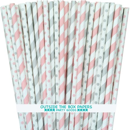 Light Pink and Silver Polka Dot and Stripe Paper Straws 100 Pack (Stripes And Polka Dots)