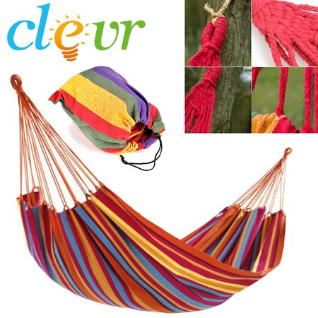 Outdoor Hanging Cotton Hammock, Double wide 1 Person Swing, 260 Lbs, Rainbow