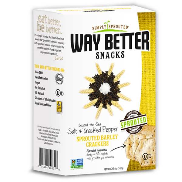 Way Better Snacks Salt & Cracked Pepper Sprouted Barley Crackers 5 oz Boxes - Pack of 3
