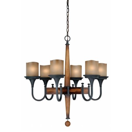 Vaxcel International H0026 Meritage 6L Chandelier   Charred Wood And Black Iron