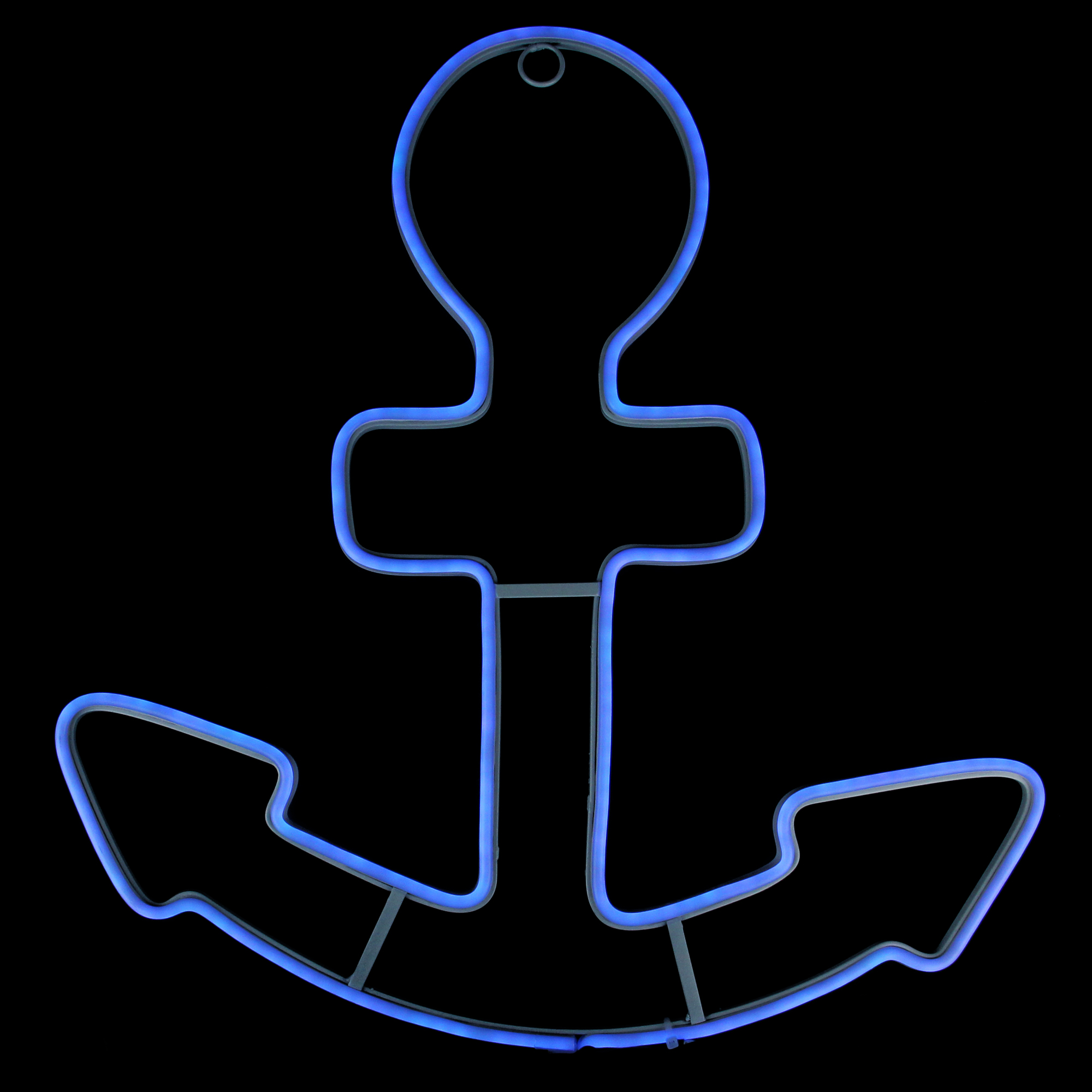 """17"""" Neon Style LED Lighted Blue Anchor Window Silhouette Decoration"""