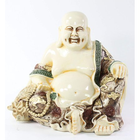 Feng Shui Ivory Happy Face Laughing Buddha Figurine Statue Prosperity Home Decor New
