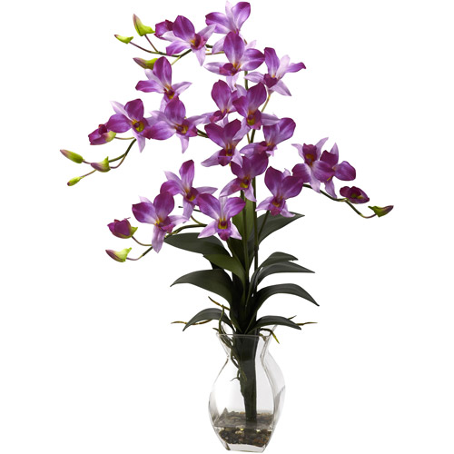 Nearly Natural Dendrobium Orchid with Vase Arrangement, Purple