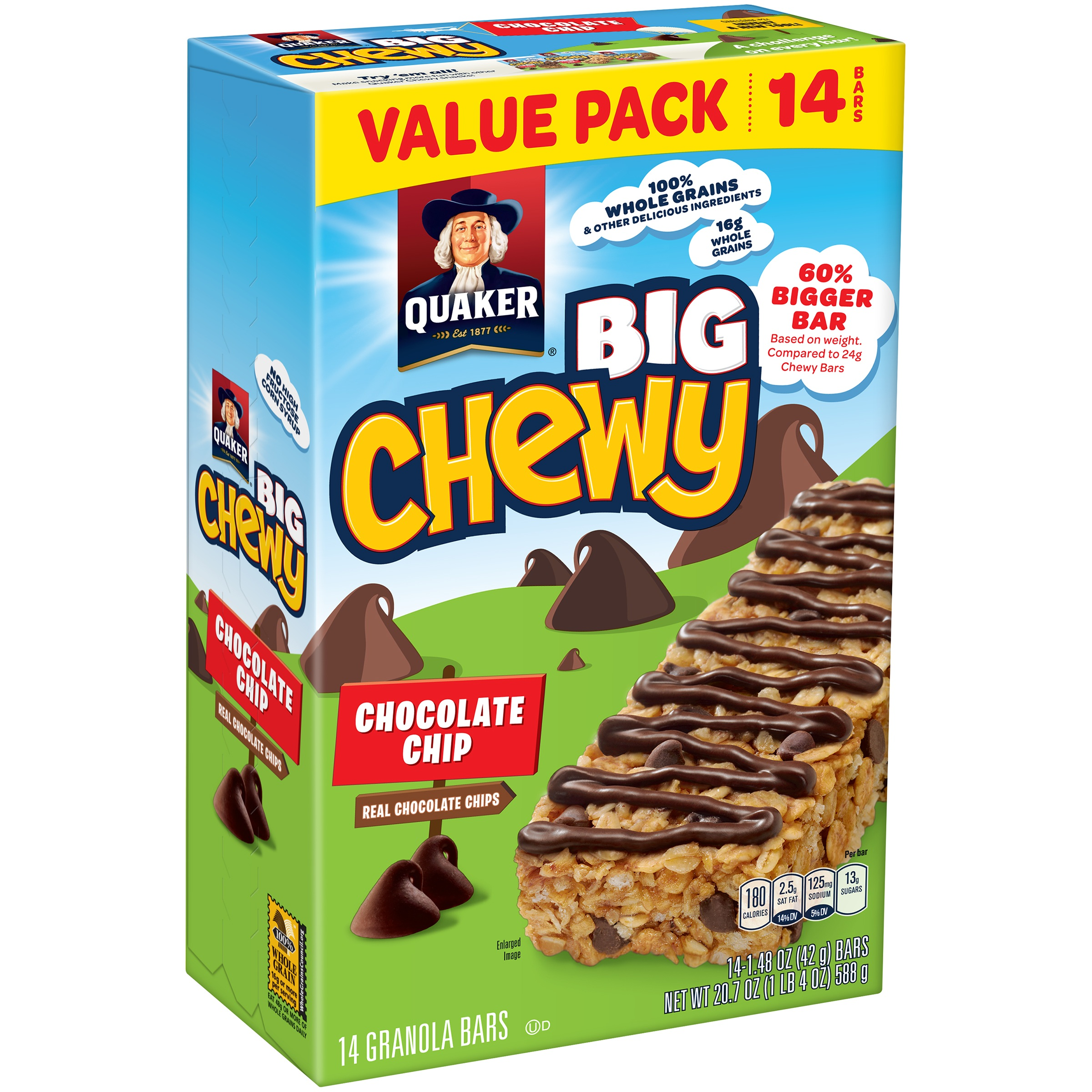 (4 Pack) Quaker Big Chewy Granola Bars, Chocolate Chip, 14 count
