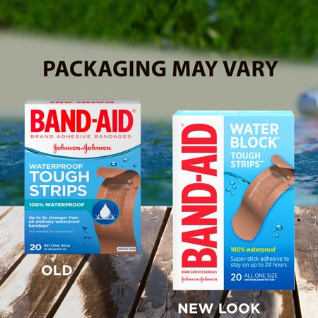 - Band-Aid Brand Water Block Tough Waterproof Adhesive Bandages, All One Size, 20 ct