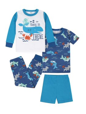 Gerber Baby and Toddler Boys Short and Long Sleeve Snug Fit Cotton Pajamas, 4-Piece Set