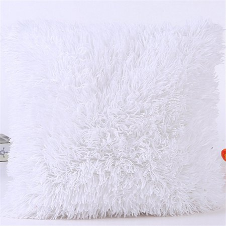 Image of Popeven Pillowcase Super Soft Plush Mongolian Faux Fur Throw Pillow Cover White Cushion Cover 18''x18'' Decorative Home Sofa Couch