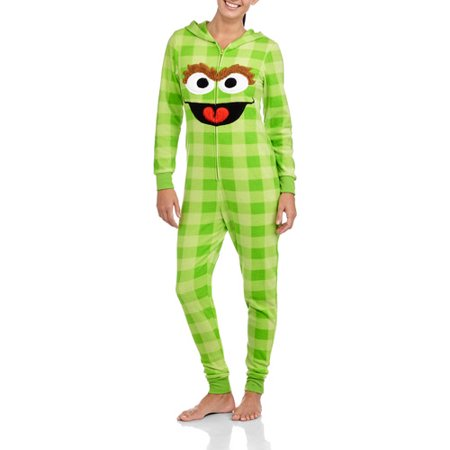 Oscar The Grouch Plaid Pj Pajama Sleepwear Cosplay Sleep Green