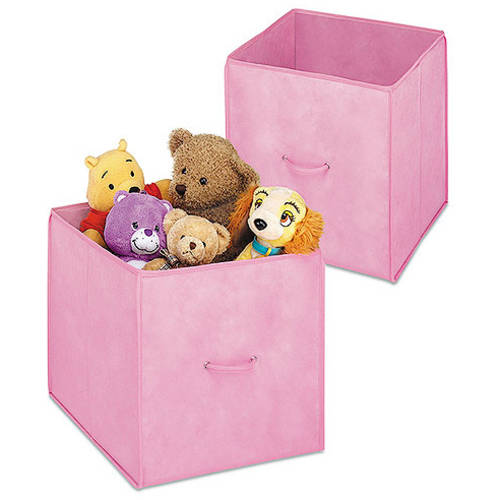 Whitmor Set Of 2 Collapsible Fabric Lined 14 Inch Storage Cubes, Pink