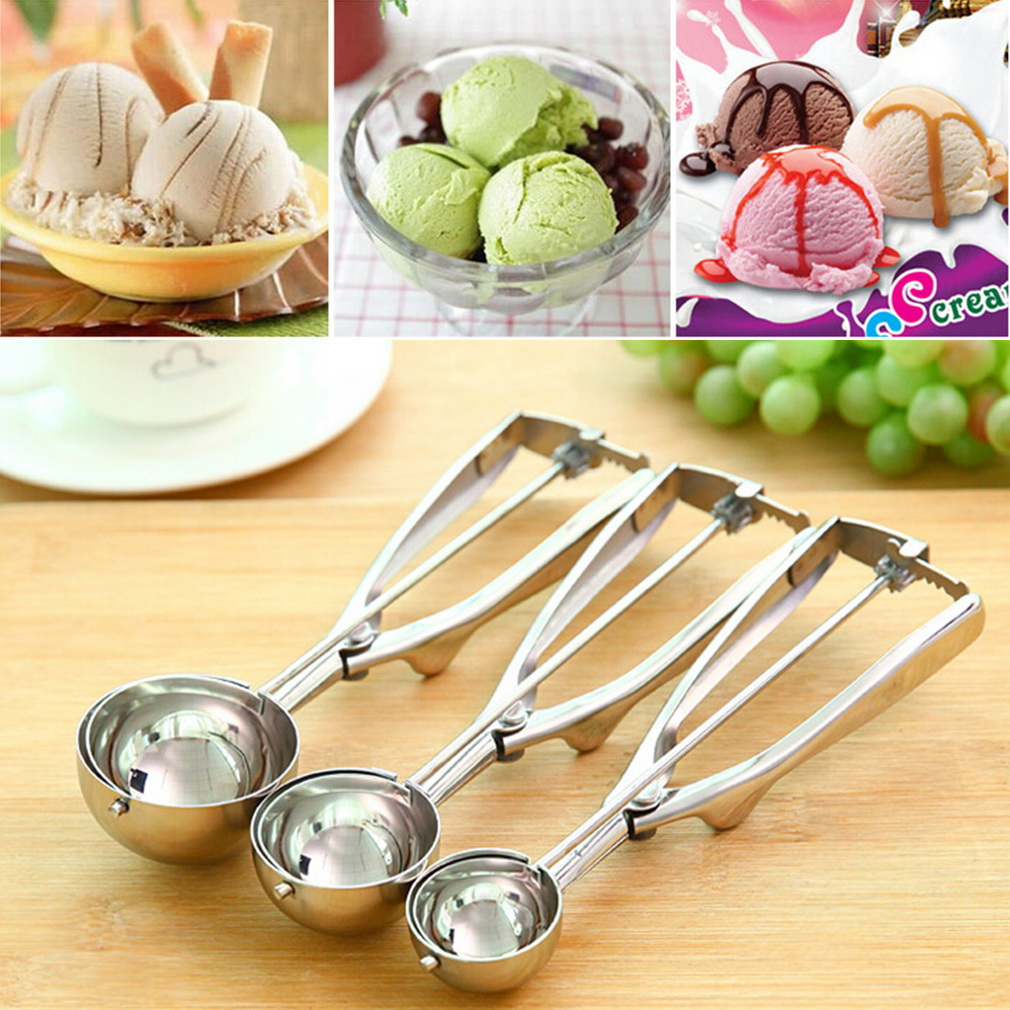 Ice Cream Spoon Stainless Steel Spring Handle Masher Cookie Scoop by