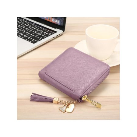 6 Colors Fashion Womens Genuine Leather Long Short Wallets Credit Card Holder Document Case Zipper Handbag Purse 20/40/60 Card Slots Christmas Valentine's Day (Leather Document Case)