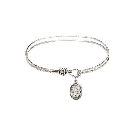 6 1/4 inch Oval Eye Hook Bangle Bracelet w/ St. John of the Cross in Sterling - The Hook Bracelet