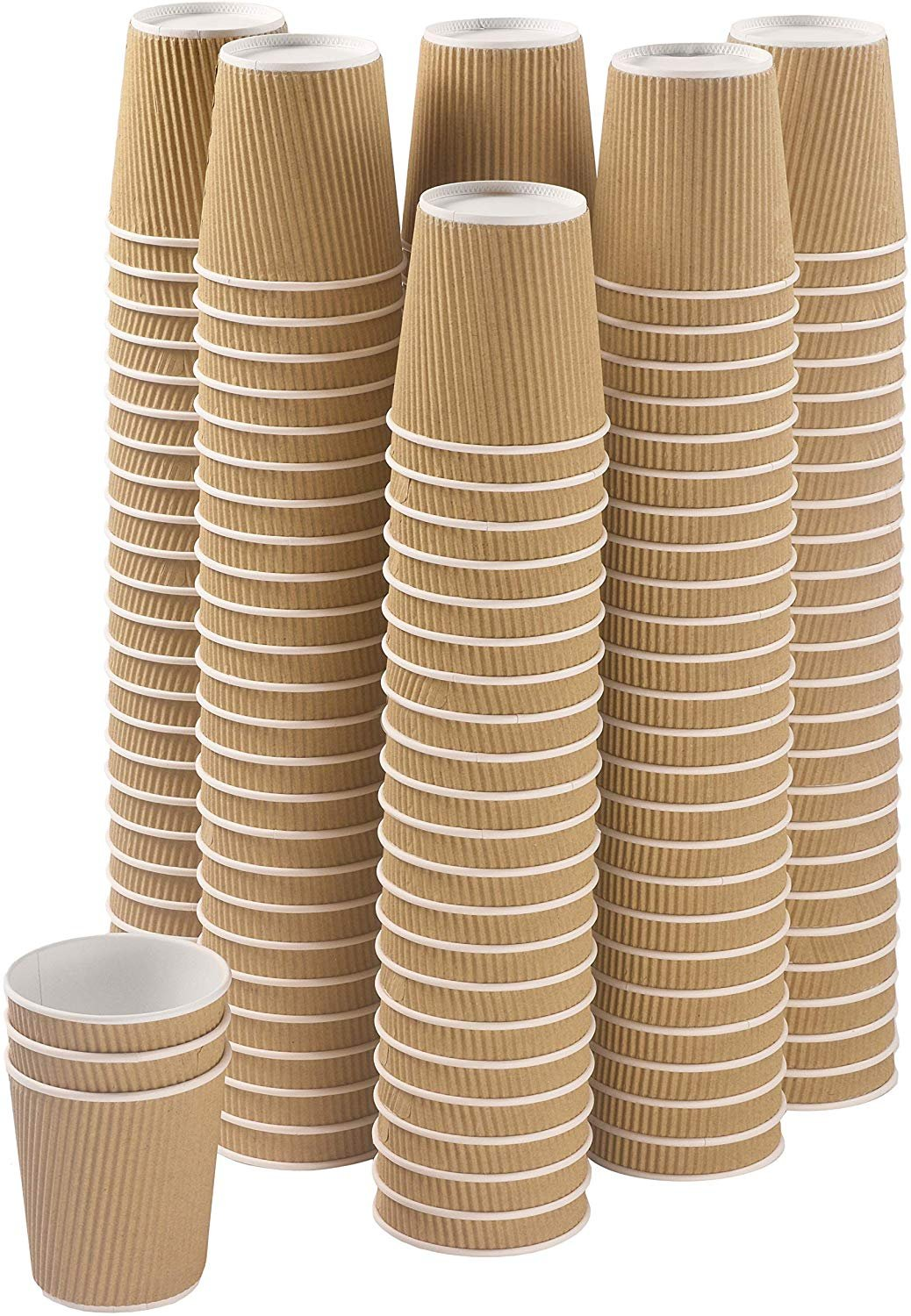 Set of 150 Ripple Insulated Kraft 10-oz Paper Cups ... Coffee//Tea Hot Cups