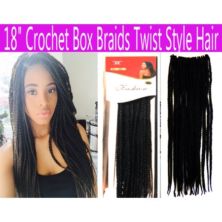 "USTAR 18"" Hand Crochet Braids Hair Box Braid Style Senegalese Extension Hair Color Jet Black #1"