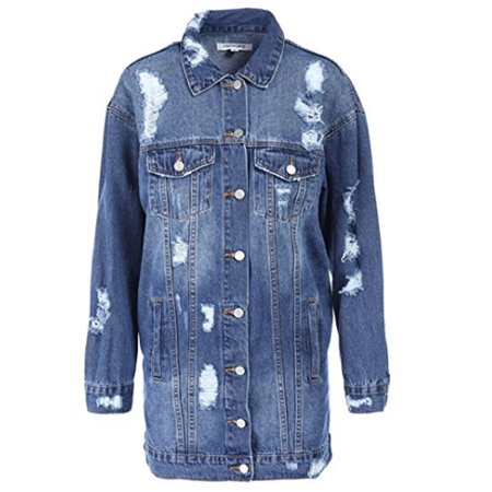 DeenChoice - Women s Long Oversized Distressed Denim Jacket- Long Denim  Mid-Wash Jacket - Dark Blue Medium - Walmart.com e0861d5198