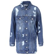 Women's Loose Fit Long Jean Jacket Ripped Broken Denim Coat - Dark Blue/Small