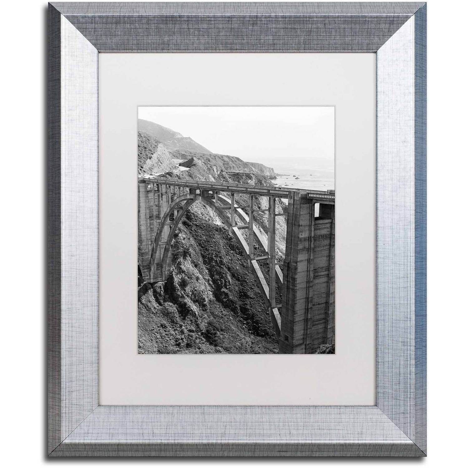 Trademark Fine Art 'Bixby Bridge BW' Canvas Art by Ariane Moshayedi, White Matte, Silver Frame