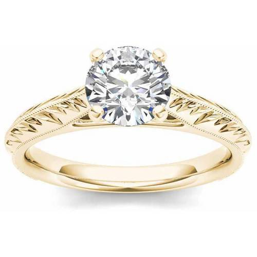 1 Carat T.W. Diamond Solitaire Vintage 14kt Yellow Gold Engagement Ring