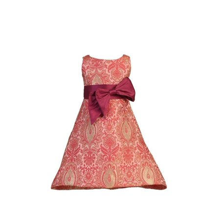 Angels Garment Little Girls Red Dupioni Bow Pink Brocade Dress (Dupioni Bow)