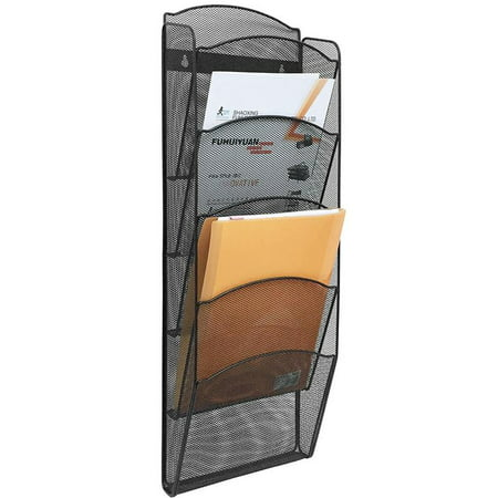 Greenco Mesh 5 Slot Wall Mounted Magazine Rack Holder, Black