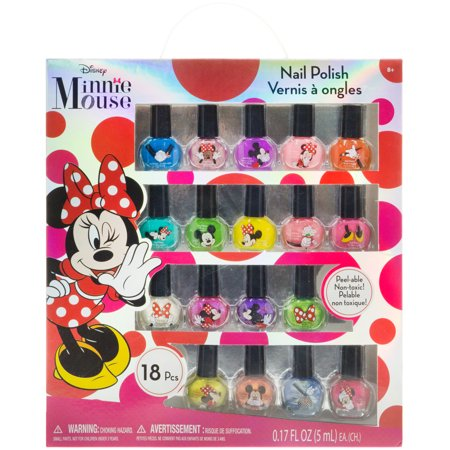 Disney Minnie Mouse 18 piece Nail Polish Kit (Minnie Mouse Nails For Halloween)