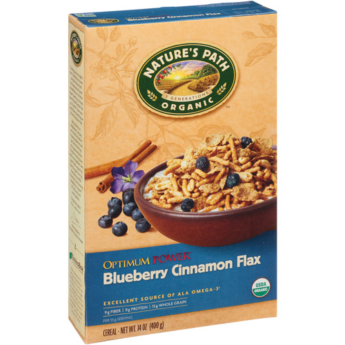 Nature's Path Organic Optimum Power Blueberry Cinnamon Flax Cereal, 14 oz, (Pack of 6)