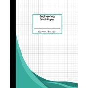 """Engineering Graph Paper : 100 Pages Quad Grid Graphing Notebook, 8 1/2"""" x 11"""", Green Cover (Paperback)"""