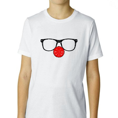 Red Clown Nose & Glasses - Clown Disguise Boy's Cotton Youth T-Shirt