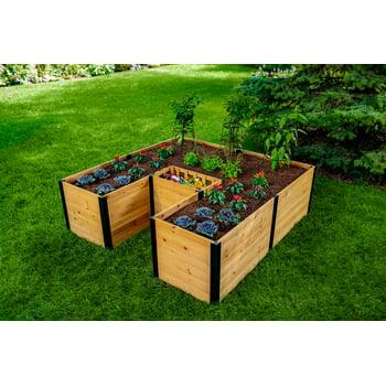 Mezza 6 ft x 6 ft Keyhole Composting Wood Raised Garden