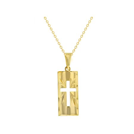 18k Gold Plated Curved Cross Medal Religious Pendant Necklace Girls Ladies 19""
