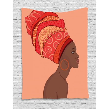 - African Woman Tapestry, Exotic Young Native Girl with Traditional Turban Folk Art, Wall Hanging for Bedroom Living Room Dorm Decor, Salmon Coral Red Chocolate, by Ambesonne