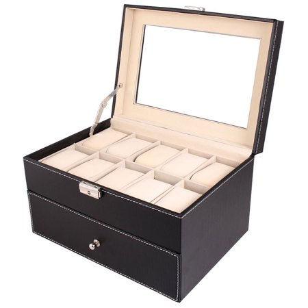 UBesGoo 20 Slot Grid Large Watch Collection Box Leather Display Case Storage Black (Leather Watch Case)