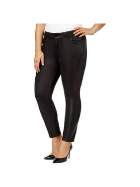 William Rast Womens Coated-Texture Stretch Jeans, Black, 24W