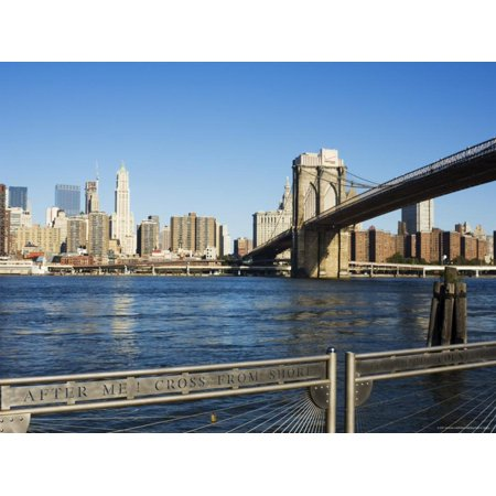 Brooklyn Bridge and Manhattan from Fulton Ferry Landing, Brooklyn, New York City, USA Print Wall Art By Amanda