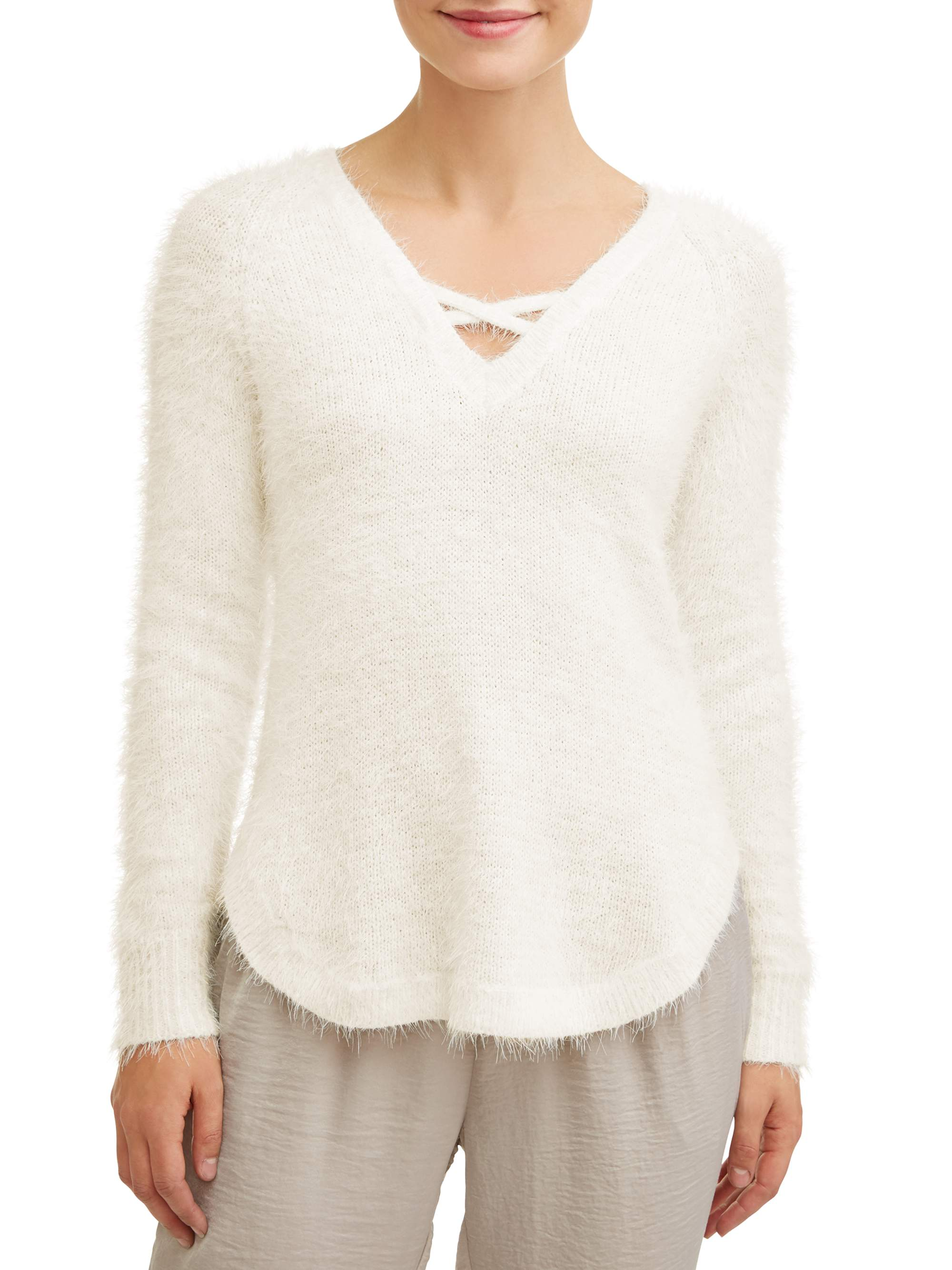Juniors' Fuzzy Long Sleeve Caged V-Neck Tunic Sweater