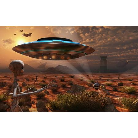 Artists Concept Of Stealth Technology Being Developed On Area 51 Canvas Art   Mark Stevensonstocktrek Images  18 X 12