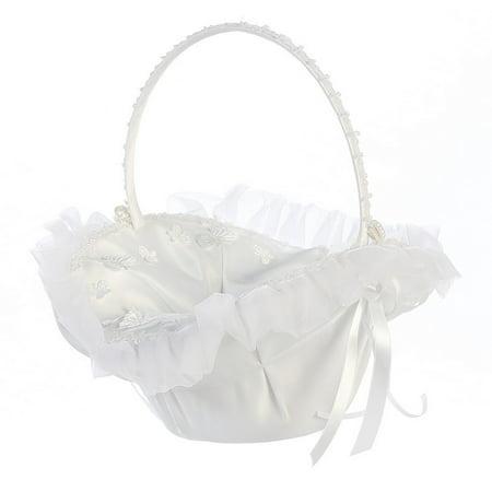White Organza Trim Butterfly Appliques Flower Girl (Butterfly Meadow Basket)
