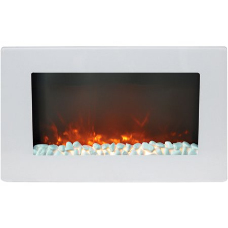 Pleasant Cambridge Callisto 30 Flat Panel Wall Mount Electric Fireplace Heater In White With Crystal Rock Display Beutiful Home Inspiration Xortanetmahrainfo