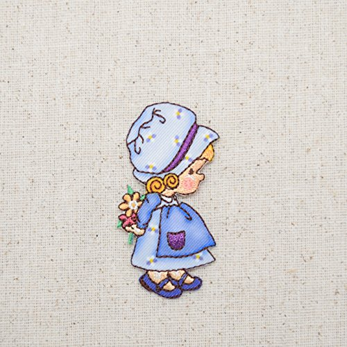 Little Girl - Blue Dress/Bonnet - Holding Flowers - Children - Iron On Embroidered Applique Patch