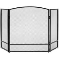 Best Choice Products 3-Panel 47x29in Simple Steel Mesh Fireplace Screen, Spark Guard Gate w/ Rustic Worn Finish