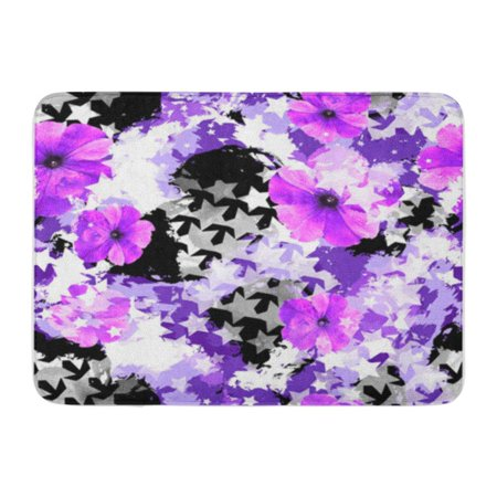 Urban Camouflage Glass Tile (SIDONKU Beauty Urban Floral Stars Flowers and Watercolor Effect Camo Doormat Floor Rug Bath Mat 30x18 inch)