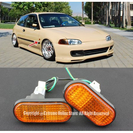 Extreme Online Store 1992-1995 Honda Civic | 1994-2001 Acura Integra Front Bumper Fender Replacement Amber Flat Reflector Side Marker Lights Turn Signal (Honda Civic Fender Replacement)
