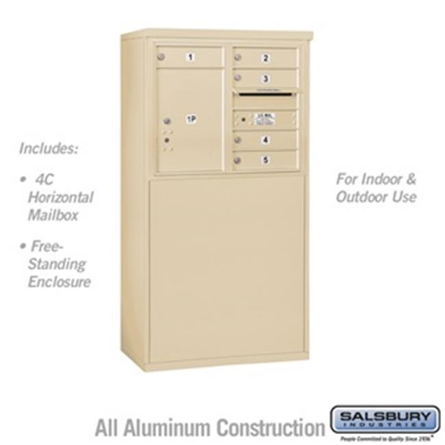Salsbury 3906DA-05SFU 51 - 0.75 in. 6 Door High Unit Double Column 5 MB1 Doors & 1 PL5 Front Loading Free Standing 4C Horizontal Mailbox Unit, Sandstone - USPS Access