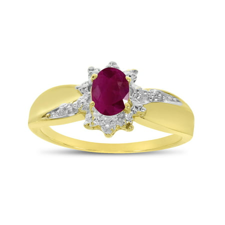 10k Yellow Gold Oval Ruby And Diamond Ring Oval Shape Ruby Ring
