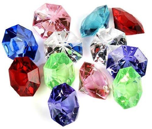 Acrylic Diamond Gems Jewels Pirate Treasure Chest Hunt Party Favors(36 PCS) by