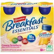 Carnation Breakfast Essentials Ready to Drink Nutritional Breakfast Drink, Creamy Strawberry, 6 - 8 FL OZ Bottles