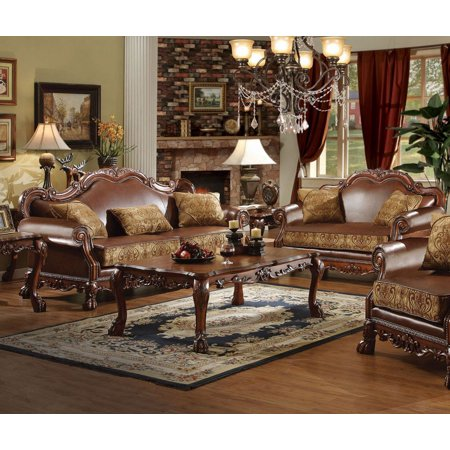 Simple Relax Dresden 2Pcs Brown PU Leather Sofa Set Loveseat