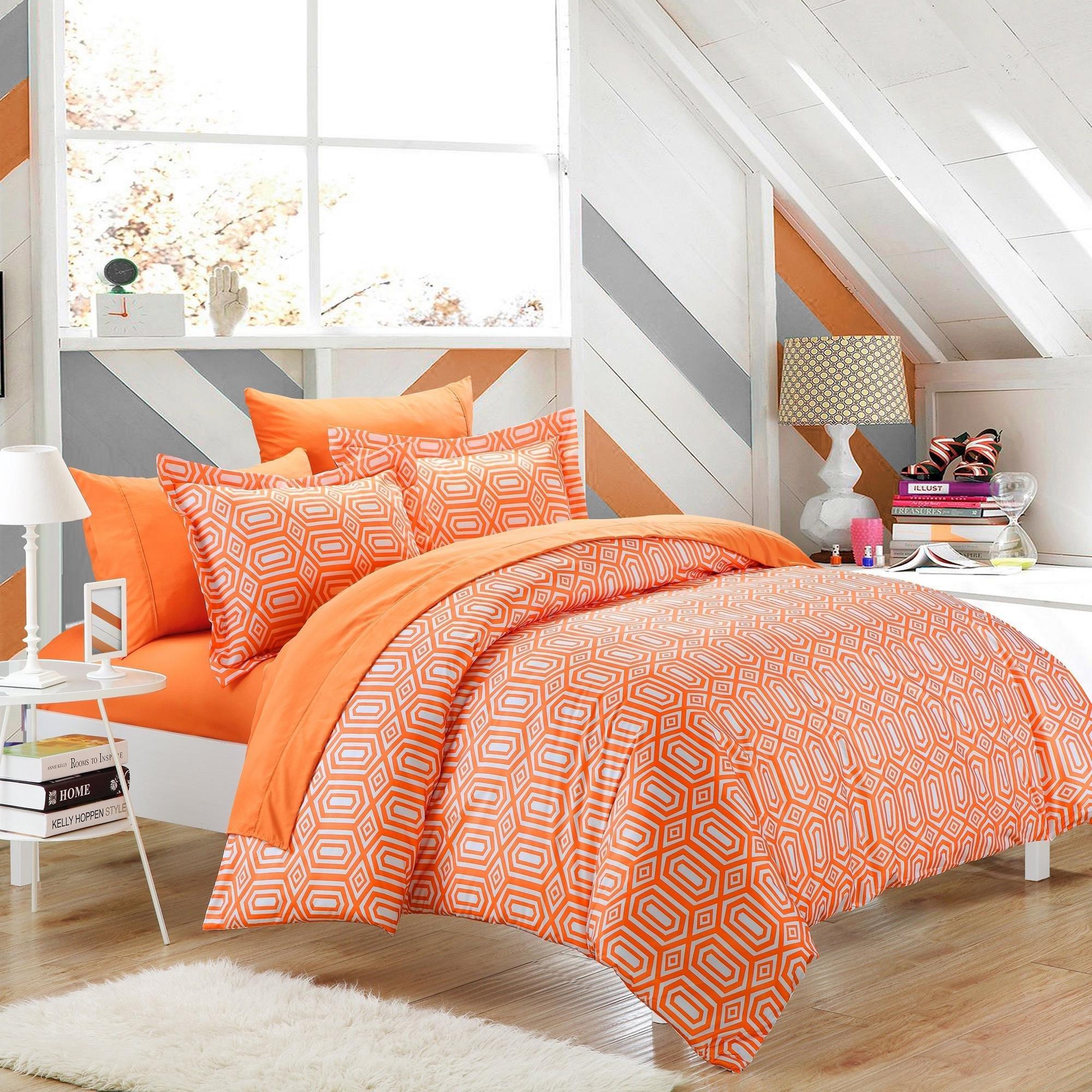 Tina Orange Twin 2 Piece Duvet Cover & Pillow Sham Set