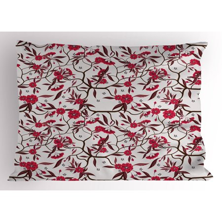 Red and Brown Pillow Sham Floral Blooming Branches with Fresh Flowers Spring Garden Stars, Decorative Standard Size Printed Pillowcase, 26 X 20 Inches, Dark Coral Dark Brown, by (Blooming Star)
