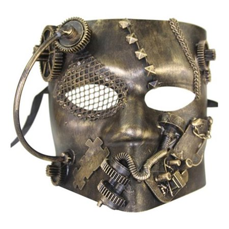 Kayso SPM008GD Full Face Bauta Style Steam Punk Masquerade Mask with Gears & Chains, Gold - Steam Halloween Sale End